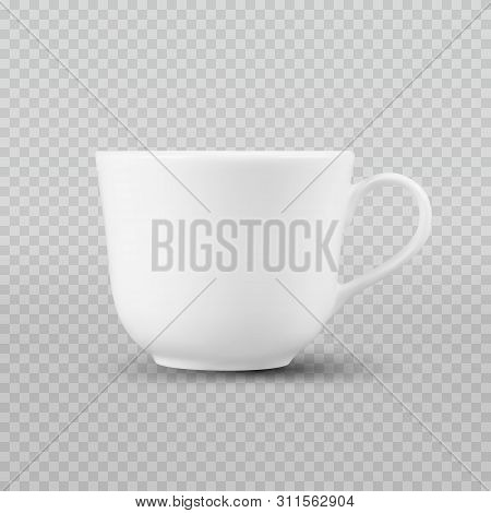 Photo Realistic White Cup Isolated On Plaid Transparent Like Background