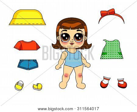 Vector Color Illustration Of A Paper Doll With A Set Of Clothes Isolated From White Background. Desi