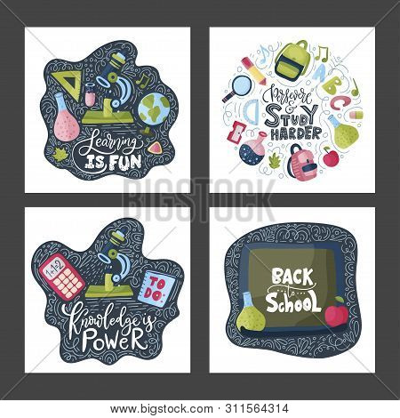 Vector School Card Set With Flat And Doodle Illustrations And Hand Drawn Lettering Quote. Back To Sc