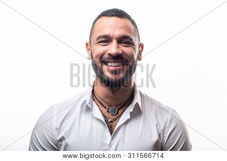 Smile seductively. Happy latino man with white healthy smile. Cheerful hispanic man with happy smile on face. Bearded handsome man with natural sexy smile. poster