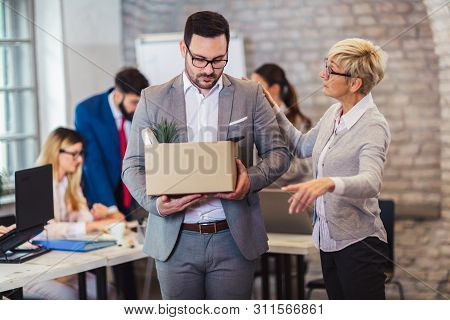 Angry Strict Dissatisfied Female Boss Firing Male Incompetent Employee