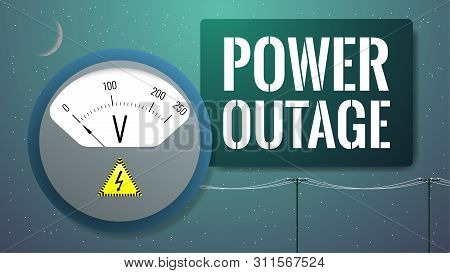 No Power Concept. No Voltage Illustration. Power Outage, Blackout. Voltmeter Measuring Power In Elec
