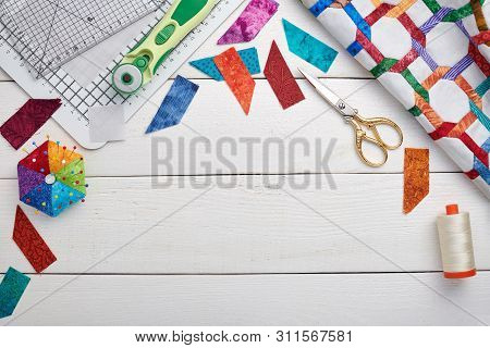 Quilting And Sewing Accessories, Fragment And Detailes Of Quilt, Space For Text