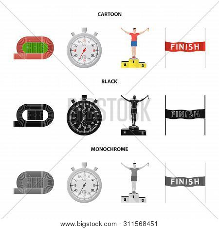 Vector Design Of Sport And Winner Sign. Collection Of Sport And Fitness Vector Icon For Stock.