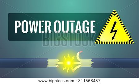 Power Outage Concept. No Electric Power Due To Damaged Cable. Torn Live Wires With Sparks And Electr