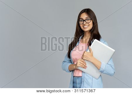 Smiling Indian Young Woman College University School Student Wear Glasses Holding Laptop Computer Is