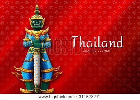 Thailand Art Thai Temple Guardian Giant Vector Illustration
