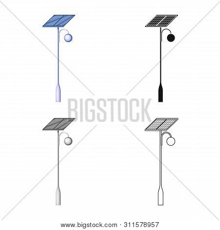 Vector Design Of Lamppost And Solar Icon. Set Of Lamppost And Alternative Vector Icon For Stock.