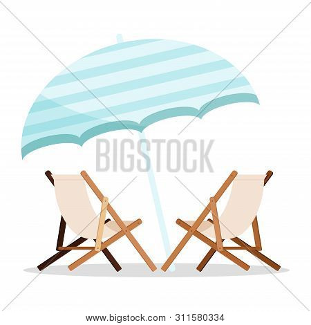 Summer Holiday Icon: Two Wooden Beach Chaise Longues With Blue Beach Umbrella Icon Isolated On White