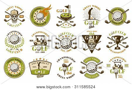 Golf Big Set Of Fifteen Colored Vector Emblems, Badges, Labels Or Logos In Vintage Style Isolated On