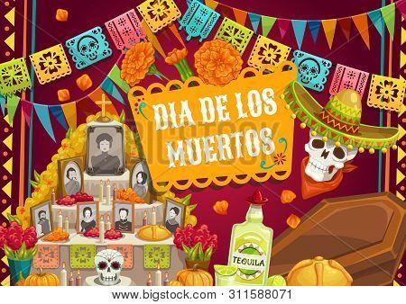 Day Of Dead, Mexican Dia De Los Muertos Holiday, Catrina Skull In Sombrero Hat And Pecked Paper Flag
