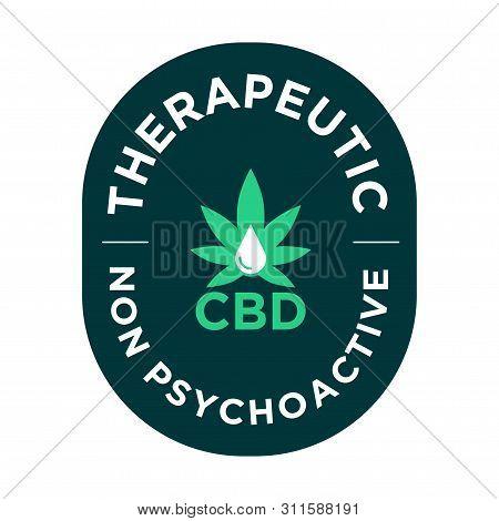 Therapeutic Cbd Icon. Non Psychoactive. Green Symbol.