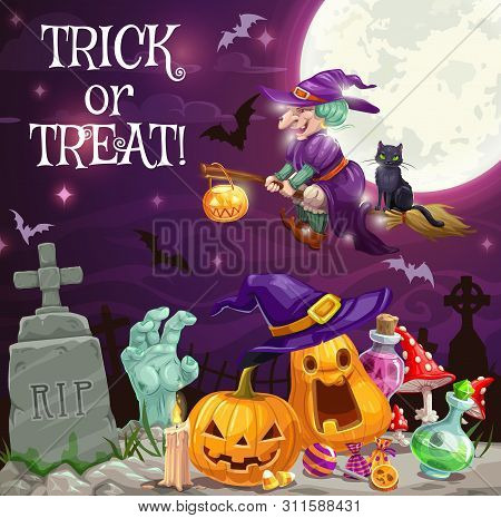 Halloween Holiday Trick Or Treat Vector Design With Witch And Pumpkins At Cemetery. Sorceress Flying