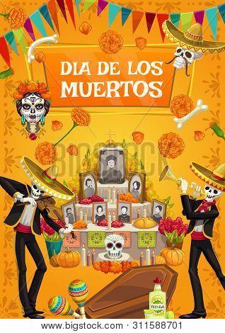 Dia De Los Muertos, Mexican Day Of Dead Fiesta Party, Skeletons In Sombrero Play Music. Vector Day O