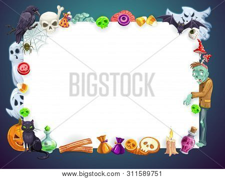 Halloween Horror Night Holiday, Trick Or Treat Party Blank Poster. Vector Frame Of Halloween Spooky