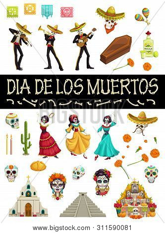 Day Of Dead Mexican Holiday Symbols And Dia De Los Muertos Party Icons. Vector Dia De Los Muertos Fi