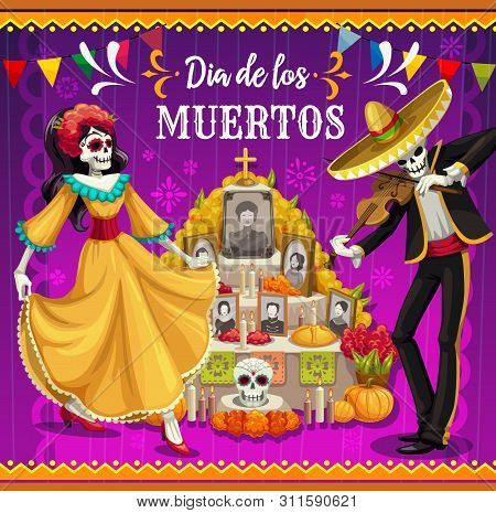 Day Of The Dead Altar With Dancing Skeletons Vector Design Of Dia De Los Muertos Mexican Holiday. Ca