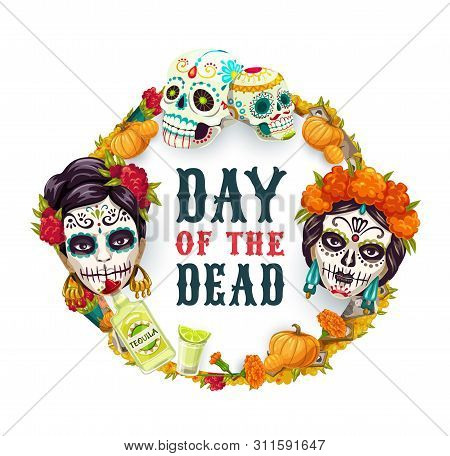 Dia De Los Muertos, Day Of Dead Mexican Fiesta Party, Woman Catrina Calavera Skull In Marigold Flowe
