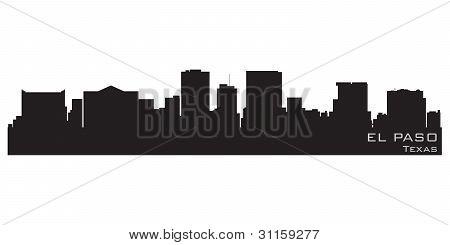 El Paso, Texas Skyline. Detailed Vector Silhouette