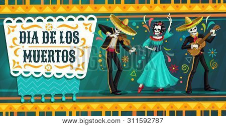 Day Of The Dead Mexican Fiesta Party With Dancing Skeletons. Dia De Los Muertos Religion Holiday Vec