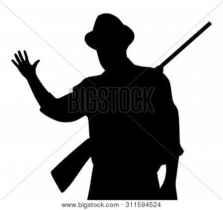 Hunter With Rifle Waving Hand Greeting. Isolated White Background. Eps File Available.