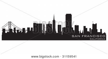 San Francisco, California Skyline. Detailed Vector Silhouette