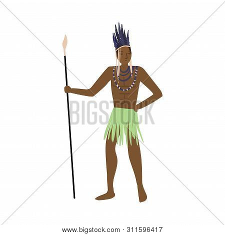 Strong African Aborigine Warrior With Feathers Headwear And Lance