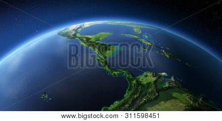 Highly Detailed Planet Earth With Exaggerated Relief Illuminated By The Evening Sun. The Countries O