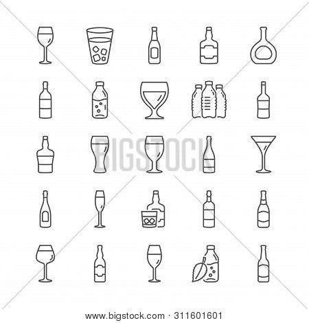 Wine Bottle Line Icons. Set Of Wine Glass, Craft Beer And Whiskey Icons. Champagne Bottle, Alcohol D