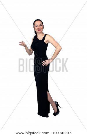 Beautiful Brunette Wearing A Long Black Dress (5)