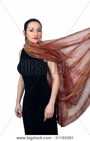 Beautiful Brunette Wearing A Long Black Dress (6)