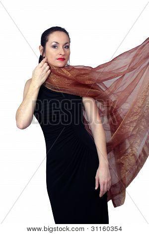 Beautiful Brunette Wearing A Long Black Dress (7)