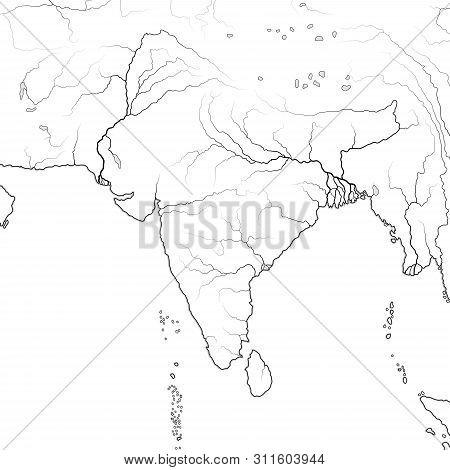 World Map Of Indian Subcontinent In South Asia: India, Pakistan, Nepal, Himalayas, Tibet, Bengal, Ce