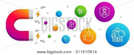 Magnet Attracting. Valet Servant, Touchpoint And Pay Money Icons Simple Set. Security Agency, Like A