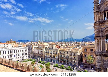 Palermo, Italy - April 29: View Of The City From The Roof Of The Palermo Cathedral In Palermo, Italy