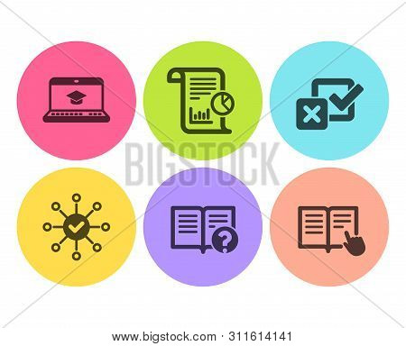 Website Education, Survey Check And Checkbox Icons Simple Set. Report, Help And Read Instruction Sig
