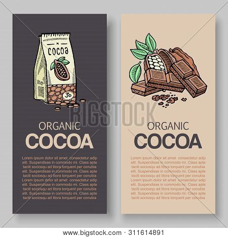 The Original Finest Chocolate Vector Packaging Design Label. Typography And Cocoa Powder Pack And Co