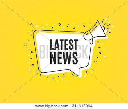 Latest News Symbol. Megaphone Banner. Media Newspaper Sign. Daily Information. Loudspeaker With Spee