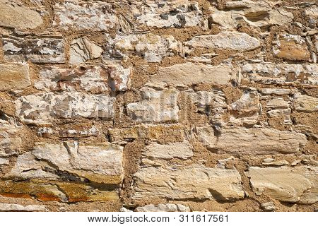 Texture Of Old Brick Stone Wall. Stone Wall Background
