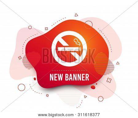Fluid Badge. No Smoking Sign Icon. Quit Smoking. Cigarette Symbol. Abstract Shape. Gradient Smoke Ic