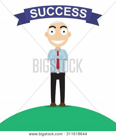 Happy Businessman Look Like So Proud About Work Success  - Vector Illustration