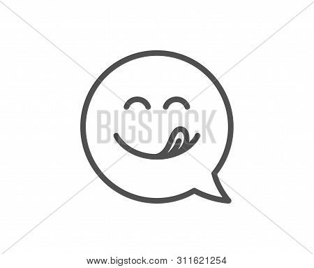 Yummy Smile Line Icon. Emoticon With Tongue Sign. Speech Bubble Symbol. Quality Design Element. Line