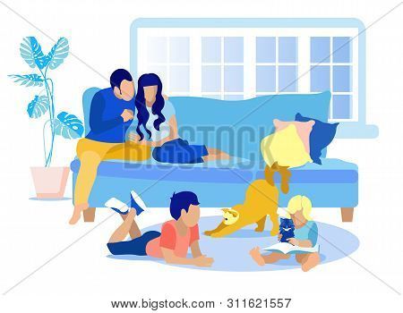 Faceless Family Rest At Home Idyllic Cartoon. Happy Husband Talks To Wife Hugging Her. Couple Sittin