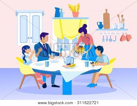 Family Breakfast With Tea And Pancakes Cartoon. Father With Daughter And Son Sitting Around Table. M
