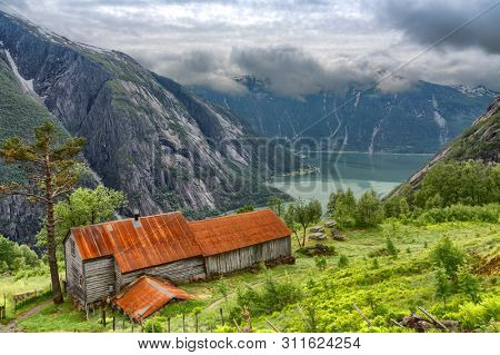 Norway, Kjeasen Mountain Farm, Eidfjord, Norway, Beautiful View Of Mountain In Fog and Fjordy, Norway Mountain Landscape