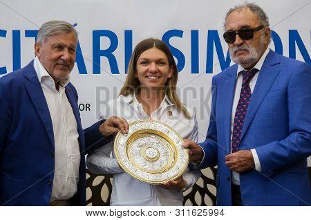 Bucharest, Romania - July 15, 2019: The Former Tennis Glory Ilie Nastase And Ion Tiriac Poses Along