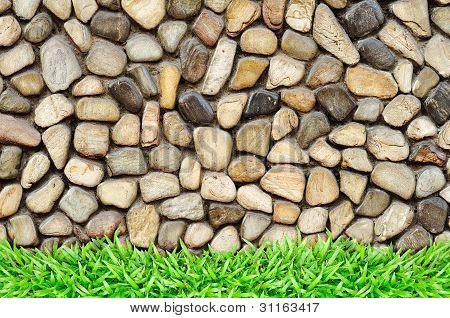 Grass Frame On Rock Wall