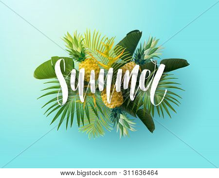 Green And Blue Summer Tropical Background With Exotic Palm Leaves, Bird Of Paradise Flowers And Pine
