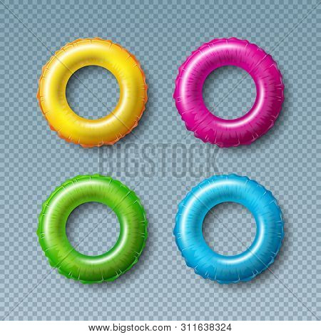 Vector Illustration With Colorful Float Collection Isolated On Transparent Background. Vector Holida