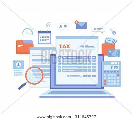 Tax Payment. State Government Taxation, Calculation Of Tax Return. Tax Form, Financial Calendar, Mag